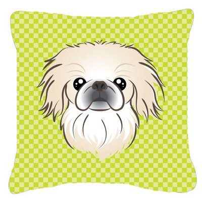 Checkerboard Pekingese Indoor/Outdoor Throw Pillow Color: Green, Size: 14 H x 14 W x 4 D