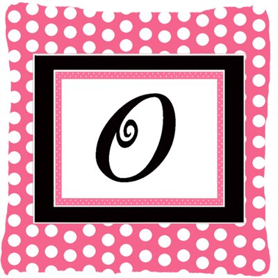 Letter Initial Monogram Pink Black Polka Dots Indoor/Outdoor Throw Pillow Letter: O
