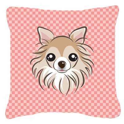 Checkerboard Chihuahua Indoor/Outdoor Throw Pillow Color: Pink, Size: 14 H x 14 W x 4 D