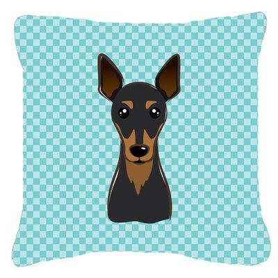 Checkerboard Min Pin Indoor/Outdoor Throw Pillow Color: Blue, Size: 14 H x 14 W x 4 D