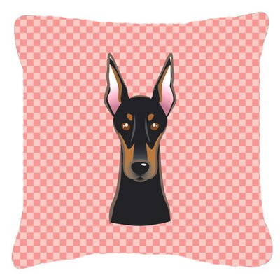 Checkerboard Doberman Indoor/Outdoor Throw Pillow Size: 14 H x 14 W x 4 D, Color: Pink