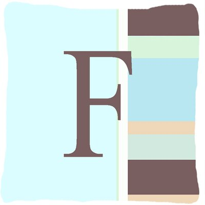 Letter Initial Monogram Blue Stripes Indoor/Outdoor Throw Pillow Letter: F