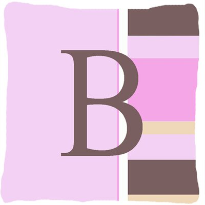 Monogram Initial Pink Stripes Indoor/Outdoor Throw Pillow Letter: B