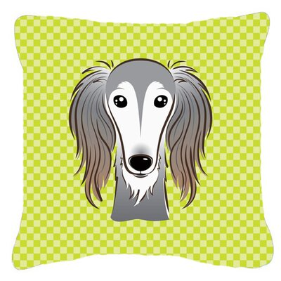 Checkerboard Saluki Indoor/Outdoor Throw Pillow Color: Green, Size: 14 H x 14 W x 4 D