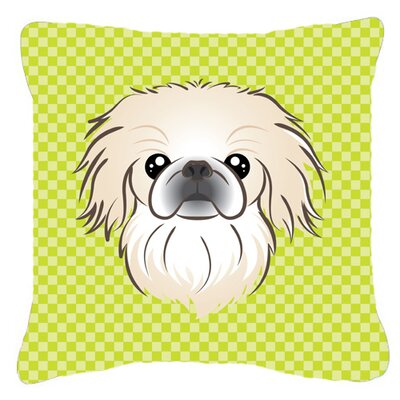 Checkerboard Pekingese Indoor/Outdoor Throw Pillow Color: Green, Size: 18 H x 18 W x 5.5 D