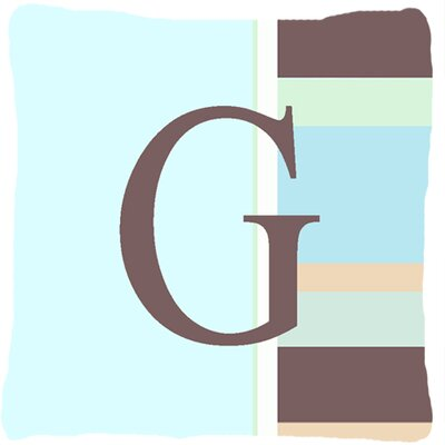 Letter Initial Monogram Blue Stripes Indoor/Outdoor Throw Pillow Letter: G