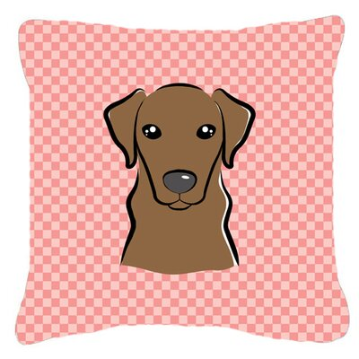 Checkerboard Chocolate Labrador Indoor/Outdoor Throw Pillow Color: Pink, Size: 14 H x 14 W x 4 D