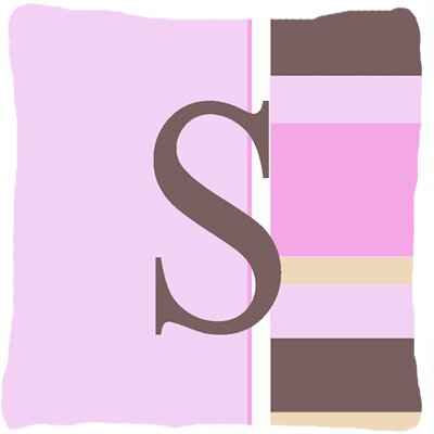 Monogram Initial Pink Stripes Indoor/Outdoor Throw Pillow Letter: S