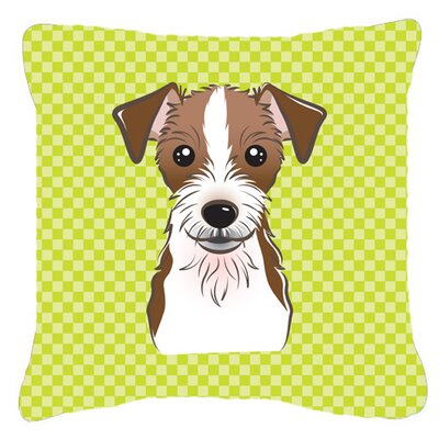 Checkerboard Jack Russell Terrier Indoor/Outdoor Throw Pillow Color: Green, Size: 14 H x 14 W x 4 D