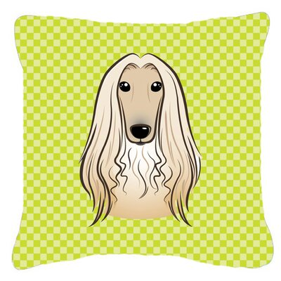 Checkerboard Afghan Hound Indoor/Outdoor Throw Pillow Color: Green, Size: 14 H x 14 W x 4 D
