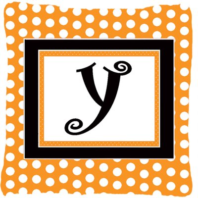 Monogram Initial Orange Polkadots Indoor/Outdoor Throw Pillow Letter: Y