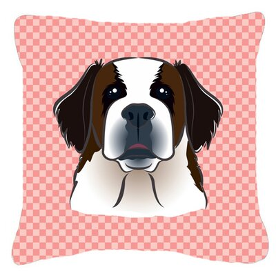 Checkerboard Saint Bernard Indoor/Outdoor Throw Pillow Color: Pink, Size: 14 H x 14 W x 4 D