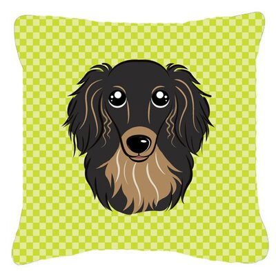 Checkerboard Longhair Black and Tan Dachshund Indoor/Outdoor Throw Pillow Color: Green, Size: 14 H x 14 W x 4 D