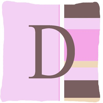Monogram Initial Pink Stripes Indoor/Outdoor Throw Pillow Letter: D