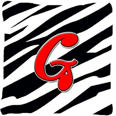 Monogram Initial Zebra Indoor/Outdoor Throw Pillow Letter: G