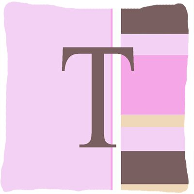 Monogram Initial Pink Stripes Indoor/Outdoor Throw Pillow Letter: T