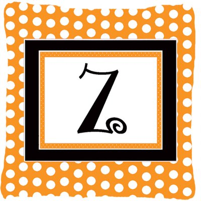 Monogram Initial Orange Polkadots Indoor/Outdoor Throw Pillow Letter: Z