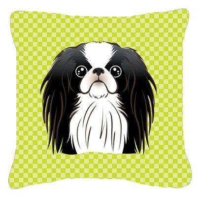 Checkerboard Japanese Chin Indoor/Outdoor Throw Pillow Color: Green, Size: 14 H x 14 W x 4 D