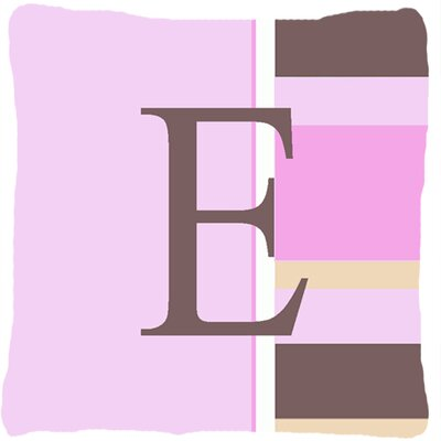 Monogram Initial Pink Stripes Indoor/Outdoor Throw Pillow Letter: E