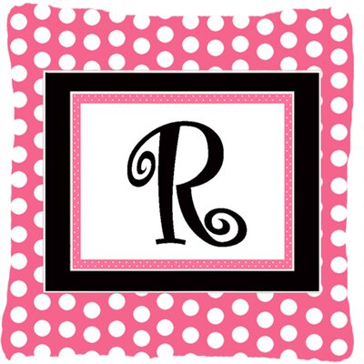 Letter Initial Monogram Pink Black Polka Dots Indoor/Outdoor Throw Pillow Letter: R