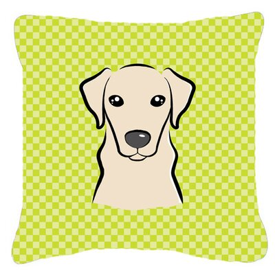 Checkerboard Yellow Labrador Indoor/Outdoor Throw Pillow Color: Green, Size: 18 H x 18 W x 5.5 D