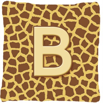 Monogram Initial Giraffe Indoor/Outdoor Throw Pillow Letter: B