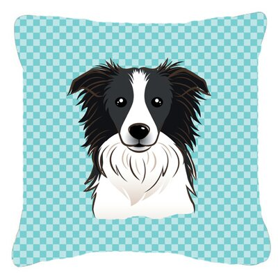 Checkerboard Border Collie Indoor/Outdoor Throw Pillow Size: 18 H x 18 W x 5.5 D, Color: Blue