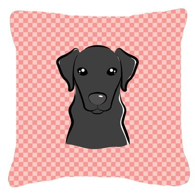 Checkerboard Black Labrador Indoor/Outdoor Throw Pillow Color: Pink, Size: 14 H x 14 W x 4 D