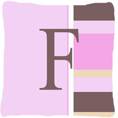 Monogram Initial Pink Stripes Indoor/Outdoor Throw Pillow Letter: F