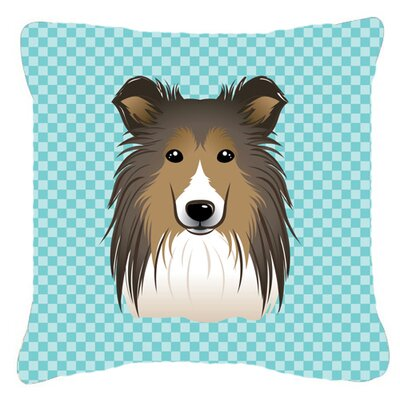 Checkerboard Sheltie Indoor/Outdoor Throw Pillow Size: 14 H x 14 W x 4 D, Color: Blue