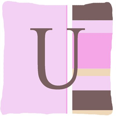 Monogram Initial Pink Stripes Indoor/Outdoor Throw Pillow Letter: U