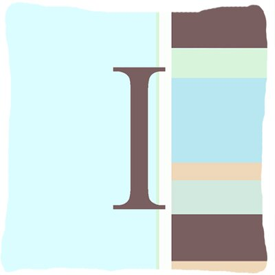 Letter Initial Monogram Blue Stripes Indoor/Outdoor Throw Pillow Letter: I