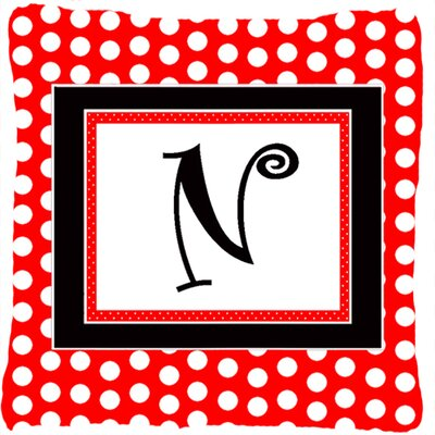 Monogram Initial Red Black Polka Dots Indoor/Outdoor Throw Pillow Letter: N