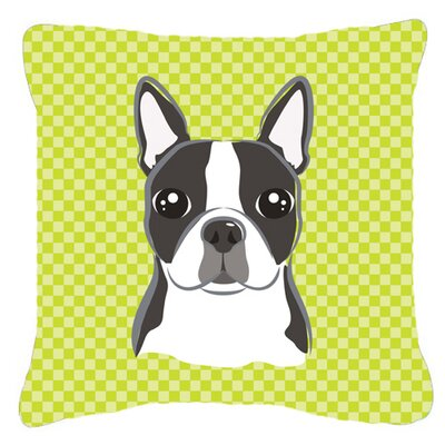 Checkerboard Boston Terrier Indoor/Outdoor Throw Pillow Color: Green, Size: 14 H x 14 W x 4 D