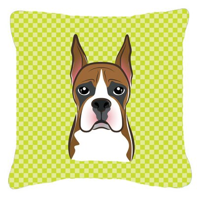 Checkerboard Boxer Indoor/Outdoor Throw Pillow Color: Green, Size: 14 H x 14 W x 4 D