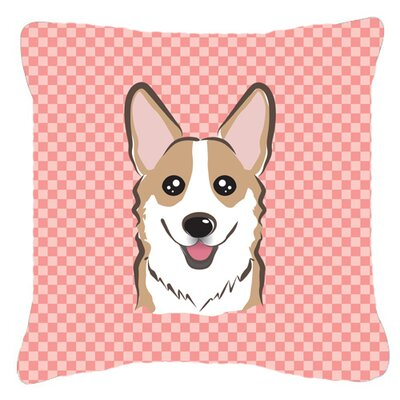 Checkerboard Corgi Indoor/Outdoor Throw Pillow Size: 18 H x 18 W x 5.5 D, Color: Pink