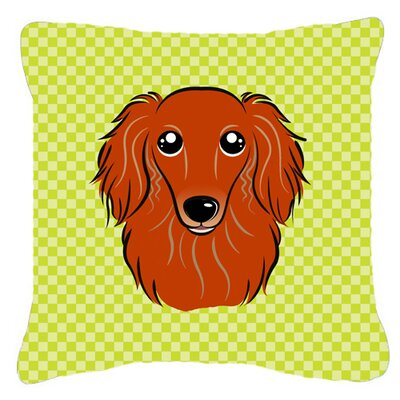 "Checkerboard Longhair Red Dachshund Indoor/outdoor Throw Pillow Size: 14"" H X 14"" W X 4"" D, Color: Green"
