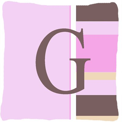 Monogram Initial Pink Stripes Indoor/Outdoor Throw Pillow Letter: G