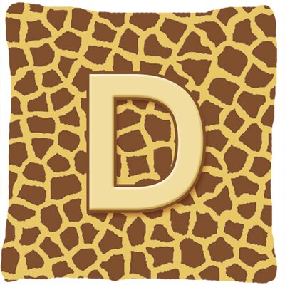 Monogram Initial Giraffe Indoor/Outdoor Throw Pillow Letter: D