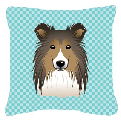Checkerboard Sheltie Indoor/Outdoor Throw Pillow Color: Blue, Size: 18 H x 18 W x 5.5 D