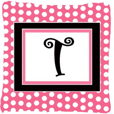 Letter Initial Monogram Pink Black Polka Dots Indoor/Outdoor Throw Pillow Letter: T