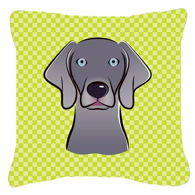 Checkerboard Weimaraner Indoor/Outdoor Throw Pillow Color: Green, Size: 14 H x 14 W x 4 D