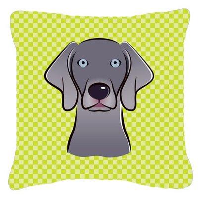 Checkerboard Weimaraner Indoor/Outdoor Throw Pillow Size: 14 H x 14 W x 4 D, Color: Green