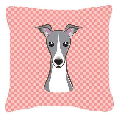 Checkerboard Italian Greyhound Indoor/Outdoor Throw Pillow Color: Pink, Size: 14 H x 14 W x 4 D