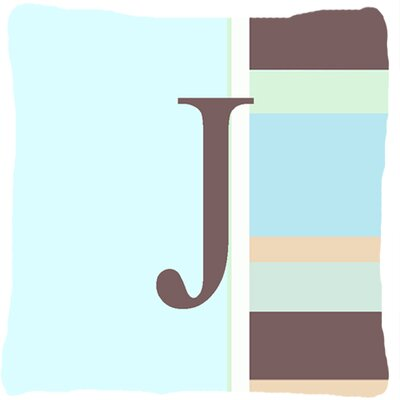 Letter Initial Monogram Blue Stripes Indoor/Outdoor Throw Pillow Letter: J