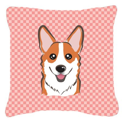 Checkerboard Corgi Indoor/Outdoor Throw Pillow Size: 14 H x 14 W x 4 D, Color: Pink