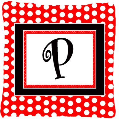 Monogram Initial Red Black Polka Dots Indoor/Outdoor Throw Pillow Letter: P