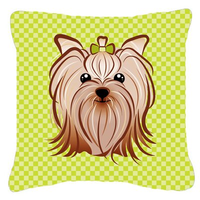 Checkerboard Yorkie Yorkishire Terrier Indoor/Outdoor Throw Pillow Color: Green, Size: 14 H x 14 W x 4 D