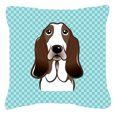 Checkerboard Basset Hound Indoor/Outdoor Throw Pillow Color: Blue, Size: 14 H x 14 W x 4 D
