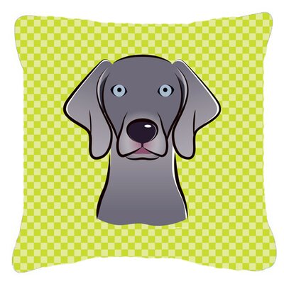 Checkerboard Weimaraner Indoor/Outdoor Throw Pillow Size: 18 H x 18 W x 5.5 D, Color: Green